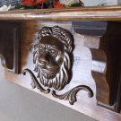 "Primitive Rustic Handmade Hand Carved Lion Head Wall Shelf  New   20 x9 1/2 x6 ""  Antique Design"