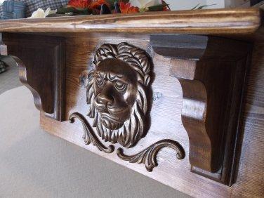 "Primitive Rustic Handmade Hand Carved Lion Head Wall Shelf  New   20 x9 1/2 x6 ""  Antique Design"