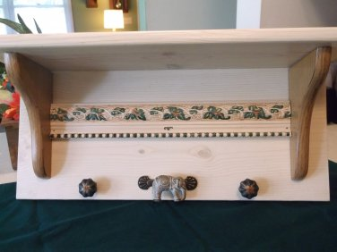 Handmade Elephant Wall Shelf with Knobs and Brackets Stained and Hand Painted 20x9x6