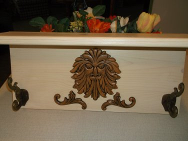 Handmade Primitive Lion Head Face Wall Shelf Coat + Hat Hooks