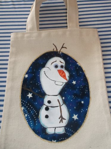 Olaf from Frozen Canvas Tote Bag Handmade Embellished