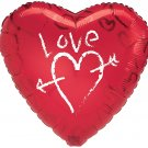 18 Inch Mylar Love Graffiti Heart Balloon