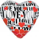 I Love You Floating Hearts Balloon 18 Inch Mylar