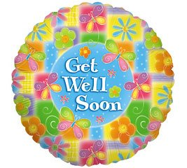Get Well Soon Glowing Flowers Balloon 18 Inch Mylar