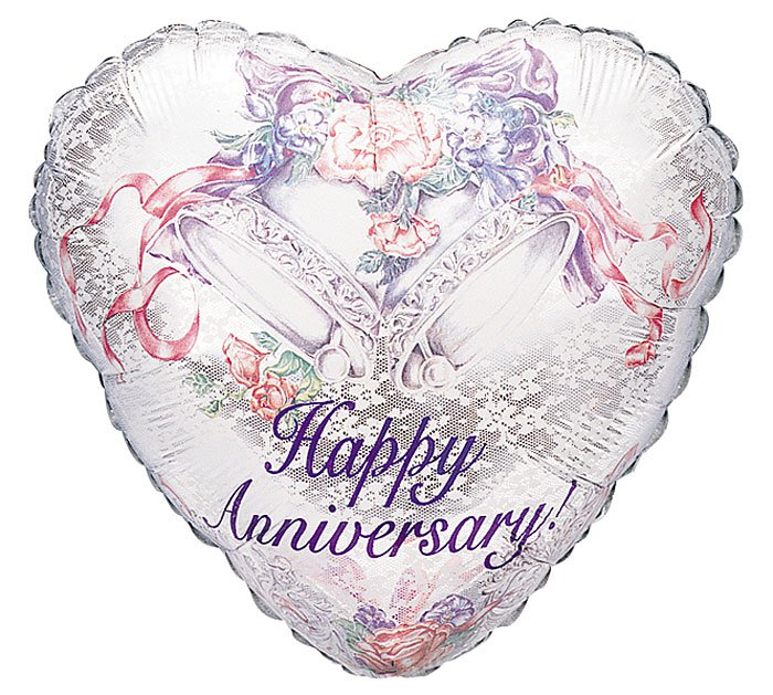 Happy Anniversary Bells Heart Balloon 18 Inch Mylar