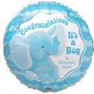 Congratulations Its a Boy Elephant 18 Inch Mylar Balloon