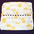 Set of 2 Daisy Cotton Crochet dishcloths, handdrawn tag - FREE SHIPPING