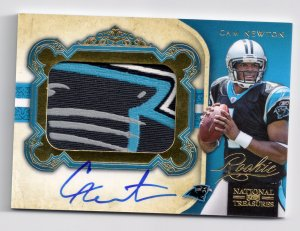 2011 National Treasures Cam Newton RPA Rookie Patch Auto 41/49 Panthers logo