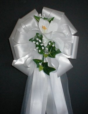 WHITE LILY Pew Bows - Wedding Decorations