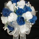 8&quot; Round White & Royal Blue Rose Buds Bride/Bridesmaid Bouquet - Wedding -