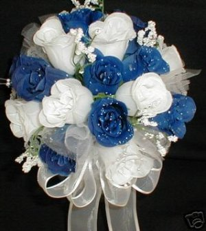 "8"" Round White & Royal Blue Rose Buds Bride/Bridesmaid Bouquet - Wedding -"