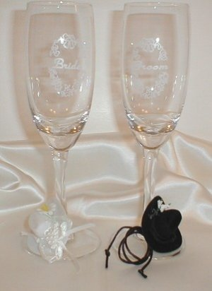 Western Cowboy Toasting Champagne/Wine Flute Glasses -Wedding-