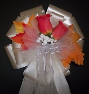 ORANGE Rose/ Fall Autumn Pew Bows - Wedding