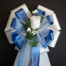 ROYAL BLUE and WHITE w/White Rose Bud - Wedding Decorations