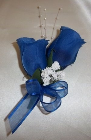 ROYAL BLUE Rose Buds Corsage - Wedding - Prom - Anniversary