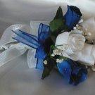 White/Royal Blue Rose Flower Girl/Toss Bouquet