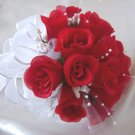 8&quot; Round Red Rose Buds Bride/Bridesmaid Bouquet - Wedding -