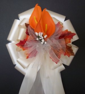 Ivory/Fall Autumn Pew Bows