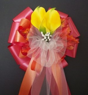RED & ORANGE w/Yellow Calla Lily/Fall Autumn Pew Bows - Wedding