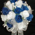 Wedding Package 14 items White & Royal Blue Rose Buds Bouquet's/Boutonniere's/Corsages - Wedding -
