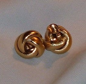 Vintage Monet Earrings Gold Tone Knot Clips