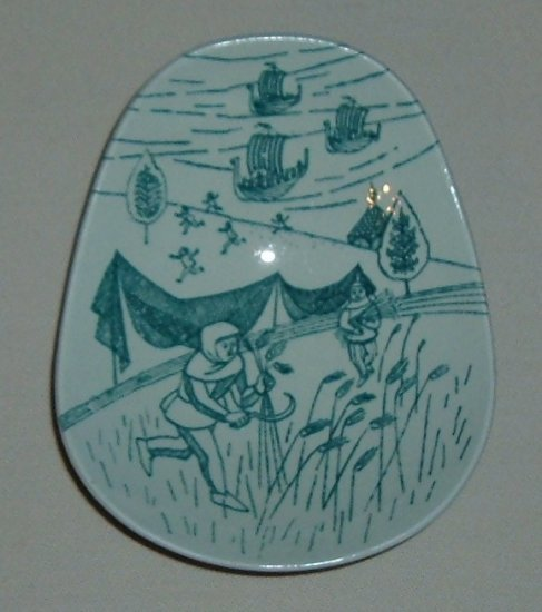 Nymolle Porcelain Denmark Art Faience Side Dish - A Scene with Serfs