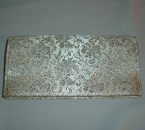 Vintage Brocade Clutch Evening Handbag in White circa 1960s