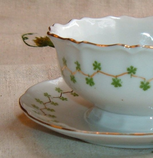 Victoria Austria Porcelain Sauce with Underplate Green Backstamp, pre 1918