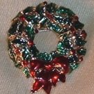 Vintage Monet Christmas Wreath Pin, Brooch