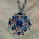 Vintage Blue Rhinestone Pendant - Greek Cross in Silvertone