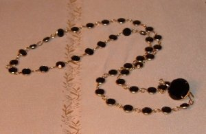 Vintage Black Crystal Necklace circa 1970s or 80s