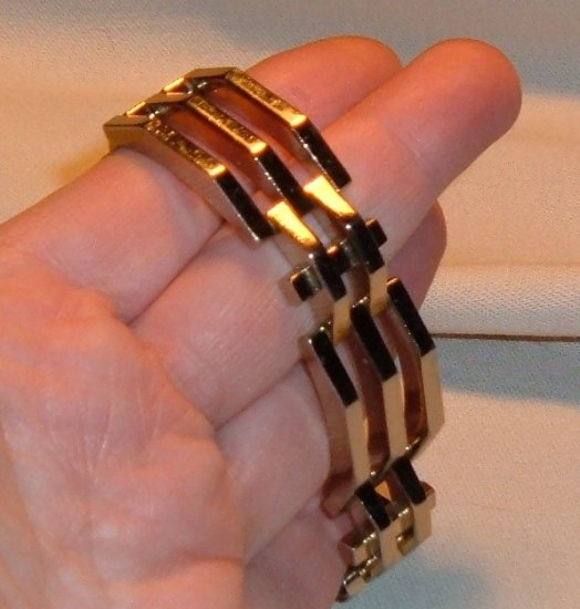 Vintage Jewelry Monet Bracelet 1950s Heavy Art Deco Style