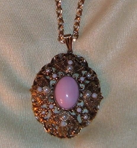 Vintage Avon Pendant in Pink and Pearl, Book Piece