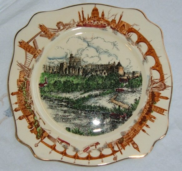 Windsor Castle Porcelain Plate, by AJ Wilkinson-Exc Cond