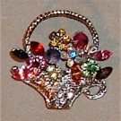 Vintage Rhinestone Brooch Basket Bouquet for Spring