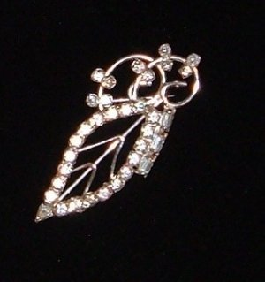 Vintage Sterling and Rhinestone Brooch Marked LG