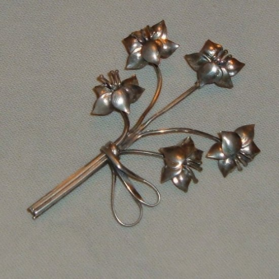 Vintage Lang Sterling Brooch Floral Spray