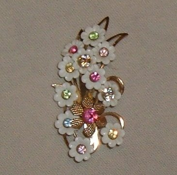 Pretty Spring Floral Brooch circa 1960's with Plastic and Rhinestones
