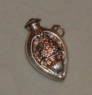 Vintage Sterling Silver Pendant - Perfumer with Floral Design