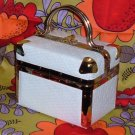 SOLD~ Vintage Delill Train Case Handbag with White Embossed Basket Pattern