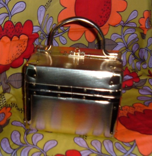 SOLD~ Vintage Delill Train Case Handbag with Gold Texture Stripe Pattern