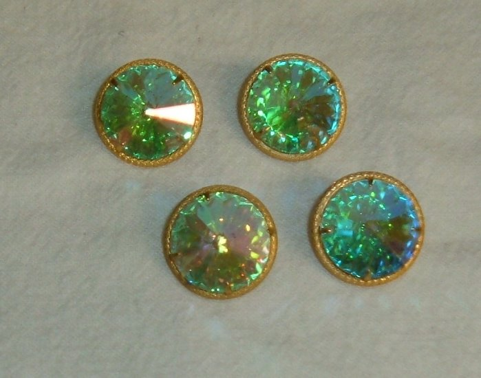 Vintage Rivoli Cut Rhinestone Buttons - Four Pieces