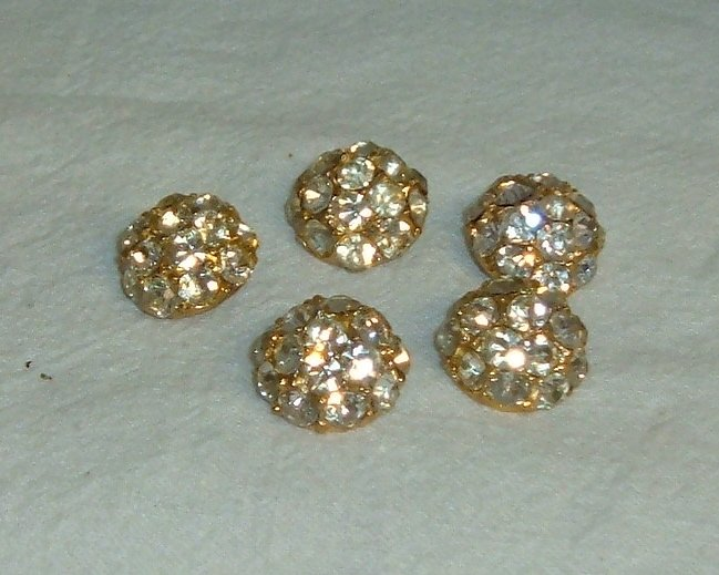 "Vintage Rhinestone Buttons - 5 pcs 1/2"" size"