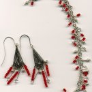 Red and Silver Bracelet and Earring Set