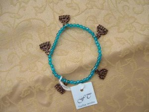 Blue Bracelet With Copper Charms
