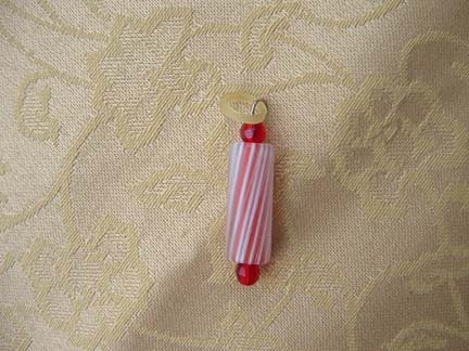 Red And White Striped Glass Bead Cell Charm