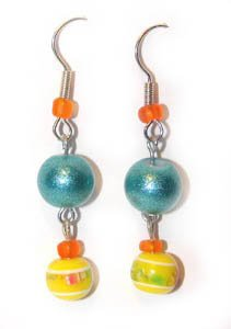 Handmade Earrings #1 - Yellow Teal Orange Glass Beads