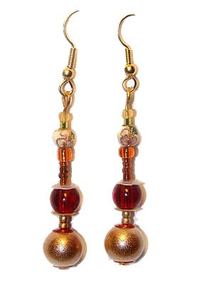 Handmade Earrings #2 - Gold Red Cloisonné Glass Beads