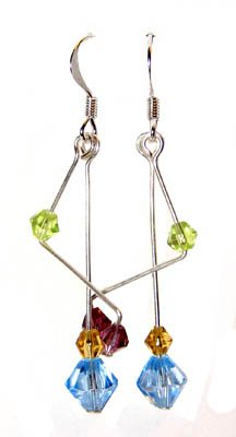 Handmade Earrings #3 - Blue Yellow Pink Green Glass Bicone Beads