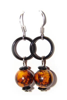Handmade Earrings #5 - Black Brown Beads with Loop